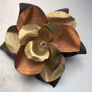 Huge tri color metal ruffled flower pin.So vintage